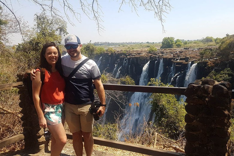 Sarah and Spencer at Victoria Falls, Zambia
