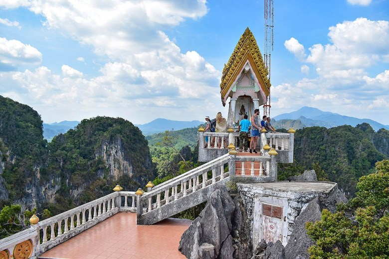 The sacred shrine at the top of Tiger Cave Temple, Krabi, Thailand