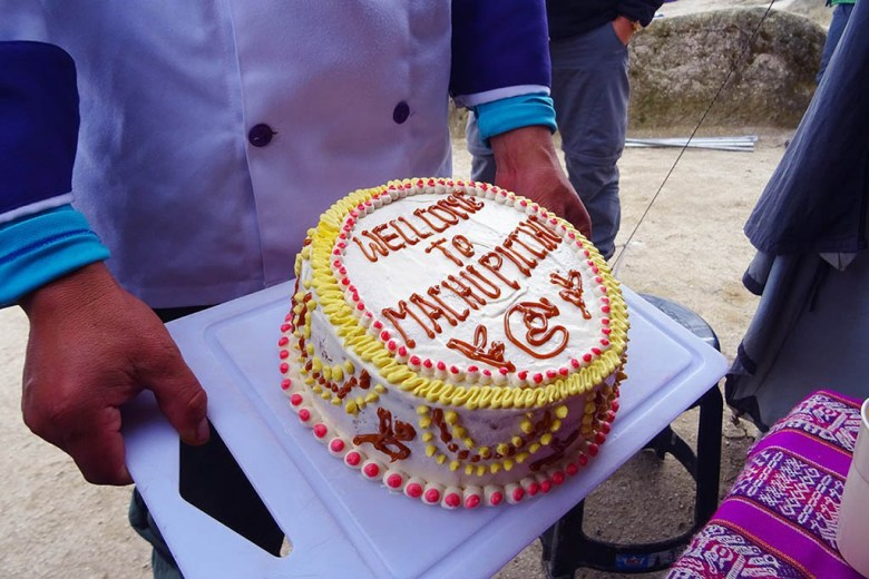 The cake presented to us by the team of G Adventures porters on the Inca Trail