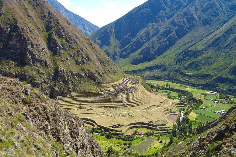 Visiting an Inca ruin site at Ollantaytambo on the day before the main trek began