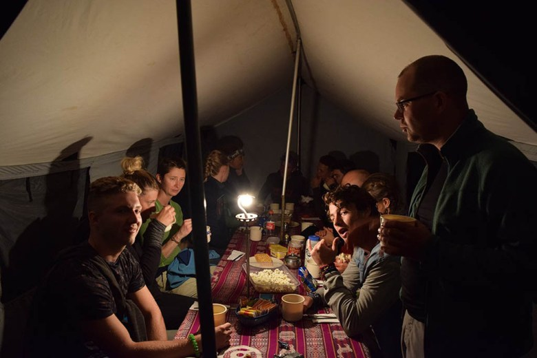 Our team gathered together for dinner and games one night on the Inca Trail