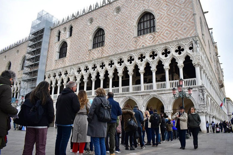 The queues get long outside Doge's Palace – we were thankful for fast-track entry with the Venice City Pass