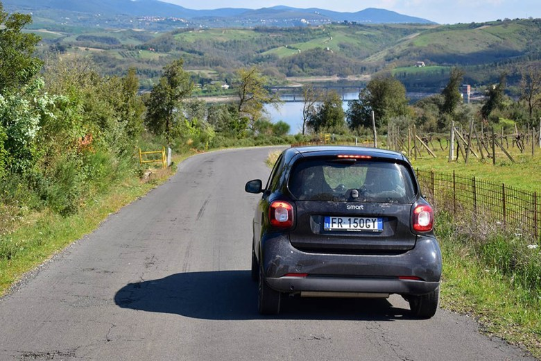 Our hired Smart Car was great for navigating Umbria's winding country roads