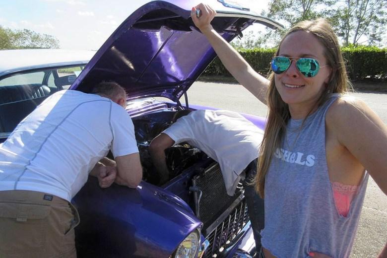 Classic car breakdown in Cuba