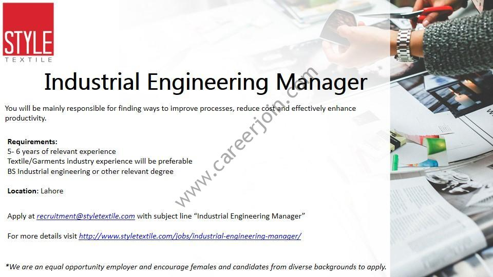 Style Textile Pvt Ltd Jobs Industrial Engineering Manager