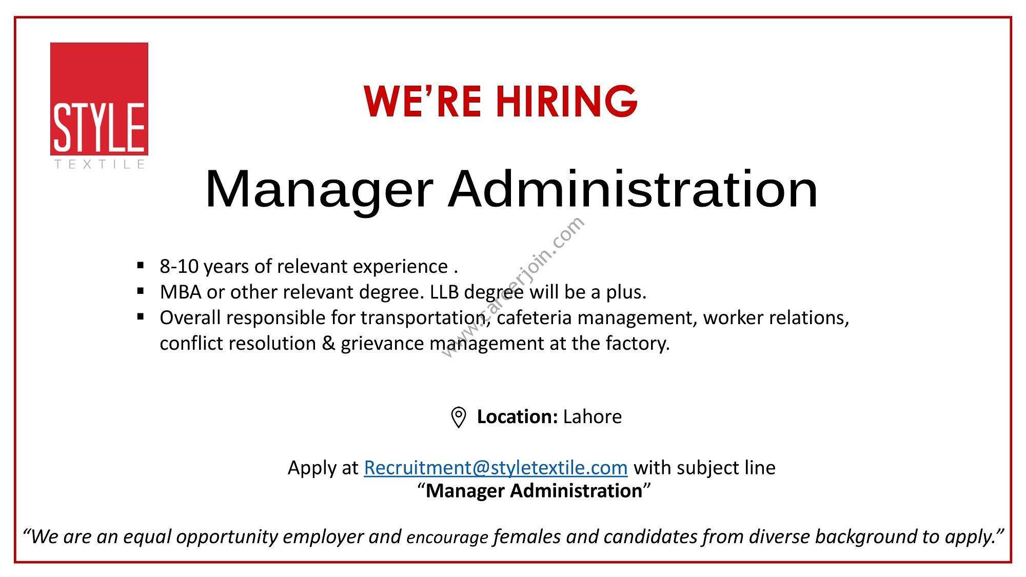 Style Textile Private Limited Jobs Manager Administration