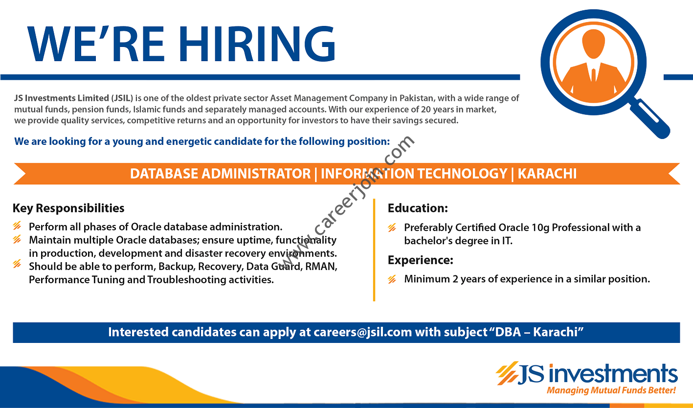 JS Investments Limited JSIL Jobs Database Administration