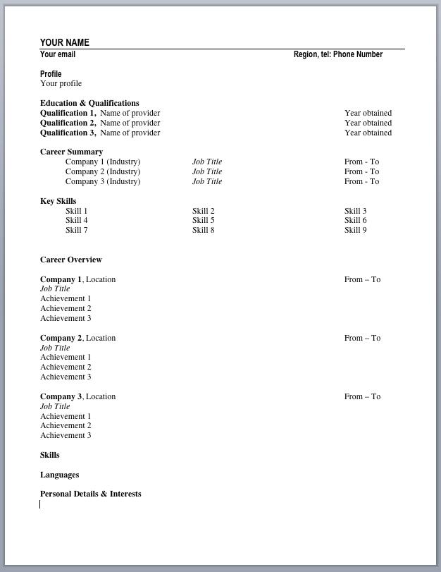 cv template layout uk edexcel biology coursework grade boundaries