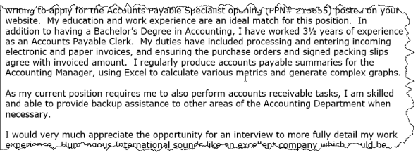 Excerpt from a cover letter.