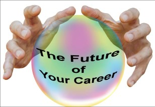 "Hands over a crystal ball which reads ""The Future of Your Career"" inside."