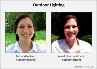 Examples of outdoor lighting: soft/indirect compared to harsh/direct.