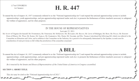 An image of the wording of H.R. 447 The National Apprenticeship Act of 2021.