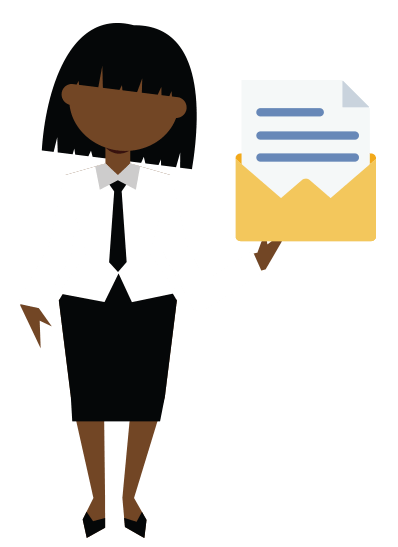 An icon of a woman holding mail