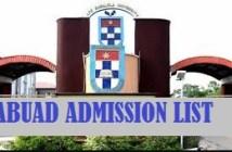 abuad admission list