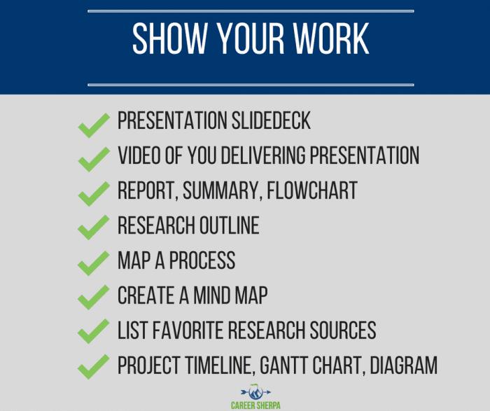 ideas to show work