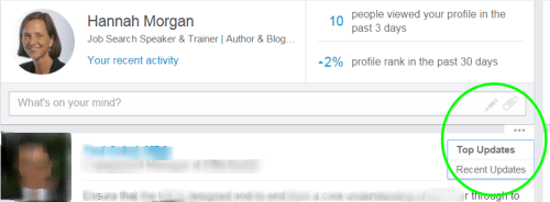 LinkedIn feed priority