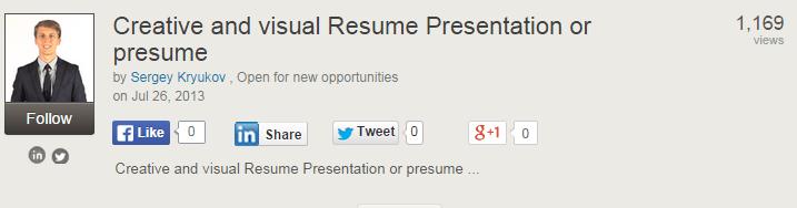 Creative Visual Resume On SlideShare
