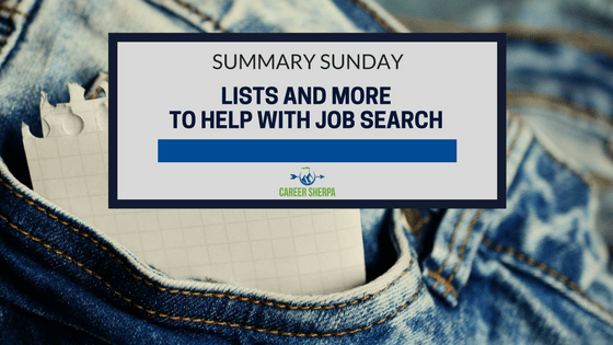 Lists and More To Help With Job Search