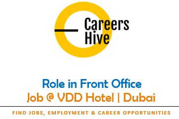 Role in Front Office   VDD Hotels Jobs in UAE 2021
