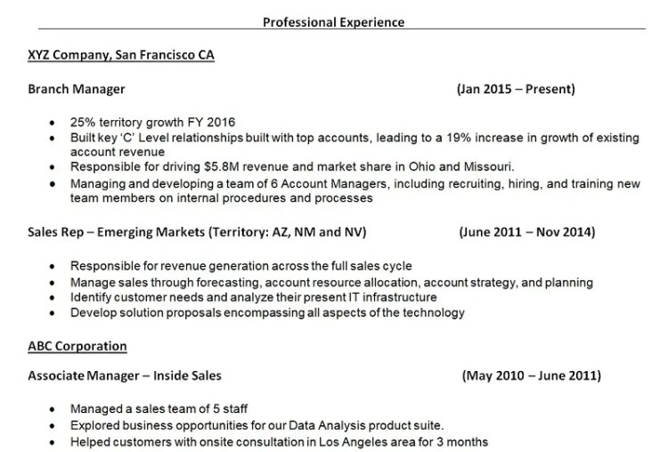 sample resume work history
