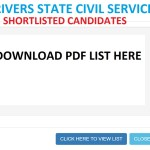 Rivers State Government Shortlisted Candidates