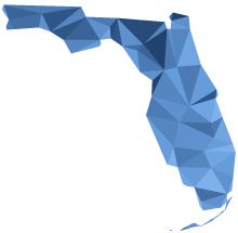 Abstract image of Florida filled with a tessellated pattern in various shades of blue.