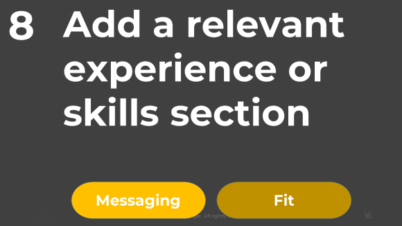 ADD Relevant Experience.