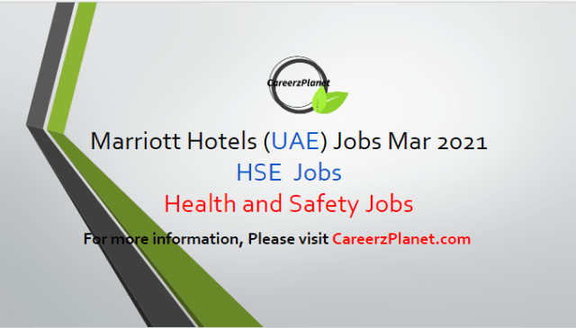 HSE Executive Jobs in Abu Dhabi UAE 29 Mar 2021 1- Environmental Health and Safety (HSE) Executive Job Category:Food and Beverage & Culinary Full Time Abu Dhabi, United Arab Emirates  Job Responsibilities: A- Responsible for ensuring that the OSH MS is implemented and maintained, and performance reports are presented to top management at least quarterly. B- Ensure that a copy of the OSH Policy is issued to all Managers and appropriate Departments, kept at hand. C- Endeavor to establish at all levels within the hotel the understanding that compliance with the regulations and prevention of injury and damage is an essential integral part of the business and operational efficiency. D- To increase health and safety awareness at all levels within the organization. E- Provide specialist advice and support to senior management regarding the management of workplace hazards and risks. F-  Follow all company and safety and security policies and procedures; report accidents, injuries, and unsafe work conditions to manager.  For more details, please scroll down & see the details.  Last Date to Apply: Apr-10-2021  Marriott Hotel Careers - United Arab Emirates Apply at CareerzPlanet.com