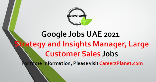 Strategy and Insights Manager, Large Customer Sales Jobs in Dubai UAE 31 May 2021