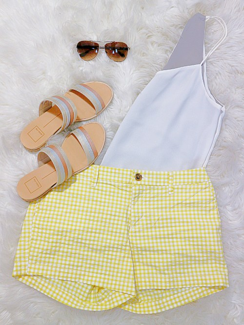 yellow gingham shorts