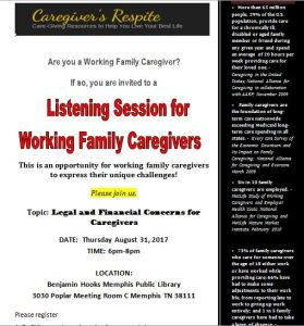 Listening Session For Working Family Caregivers @ Benjamin Hook Memphis Public Library Meeting Room C | Memphis | Tennessee | United States