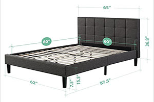 zinus upholstered square stitched platform for heavy people