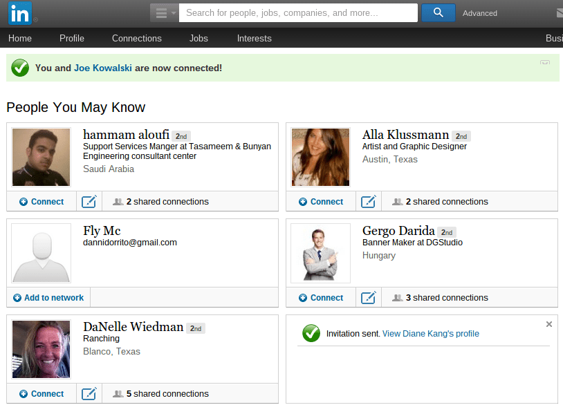 LinkedIn's People You May Know Page is a great way to grow your network and professional email list.