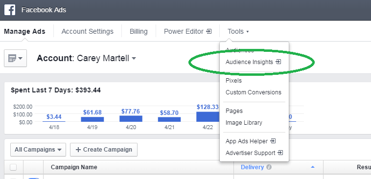The Audience Insights Tool is located in the Facebook Ads Manager