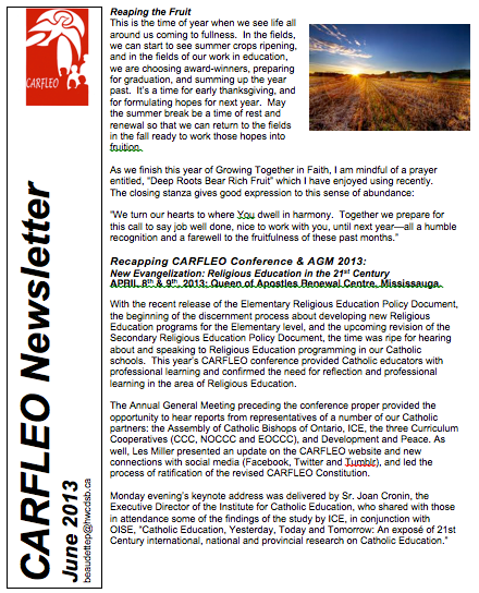 CARFLEO Newsletter June 2013