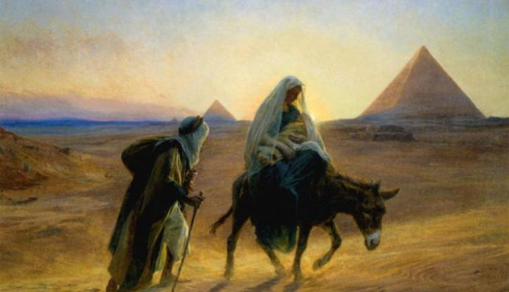 Painting showing Mary on donkey carrying Jesus and Joseph alongside with pyramids in background