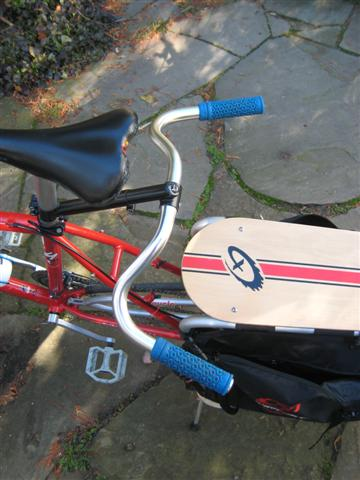 """Nitto swept-back (Dove bar) on xtracycle in upside-down 'moustache bar configuration. You can also run them """"up."""""""