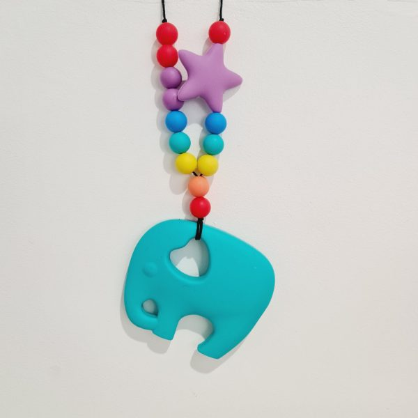 fiddle necklace teething blue boy girls elephant