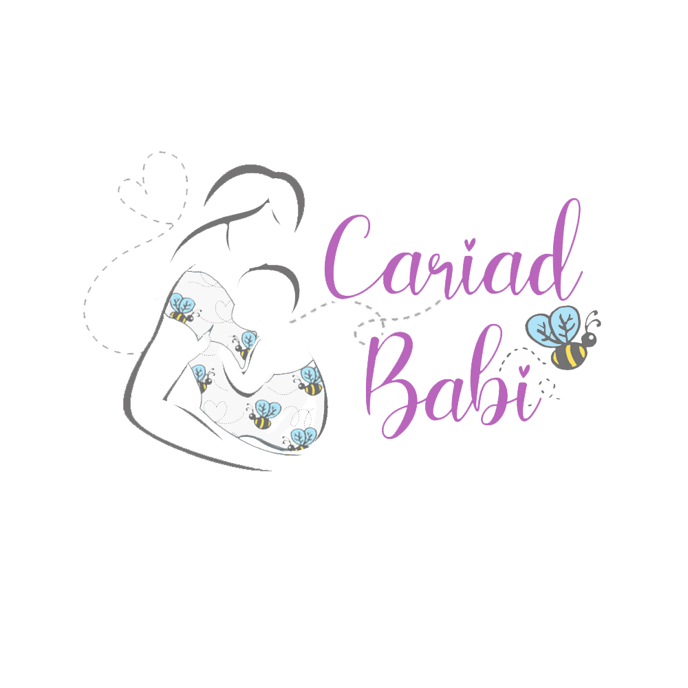 Cariad Babi logo mum holding baby in arms in sling with bee