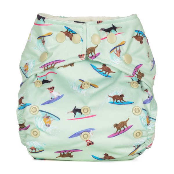 Baba+Boo Surfing Dogs One Size Reusable Nappy
