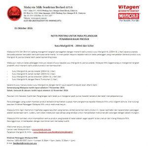Penjualan Produk Marigold HL Ditarikbalik