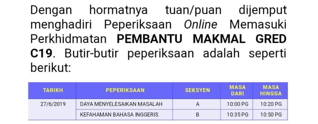 Contoh Soalan Peperiksaan Online Pembantu Makmal C19 Carian Semasa