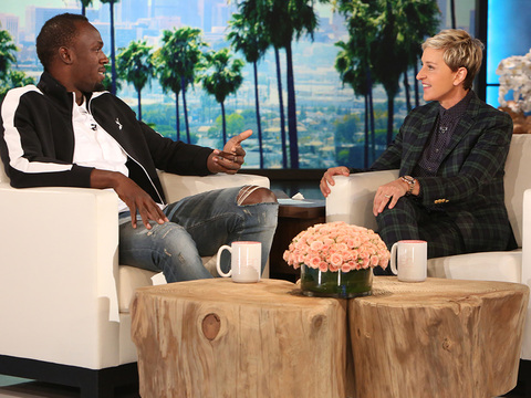 Usain Bolt Visits The Ellen Show, Gets Challenged To A Sprint With An 8 Year Old Jamaican Trainer- Guess Who Gets Gold