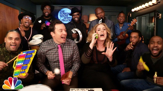 """Adele Joins Jimmy Fallon and The Roots To Perform """"Hello"""" With Classroom Instruments"""