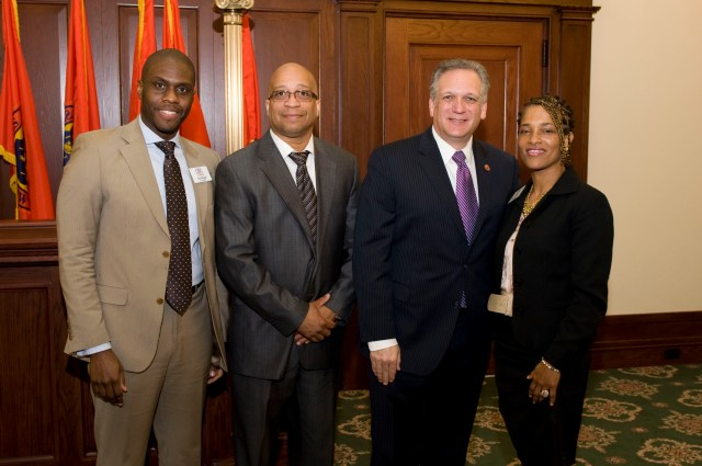 CBC Founder, Hanif Russell, CBC Senior Advisory Board Member,Ray Thomas, Nassau County Executive, Edward Mangano and CBC Founder Sandra McCarty at 2013 Caribbean Leadership Breakfast