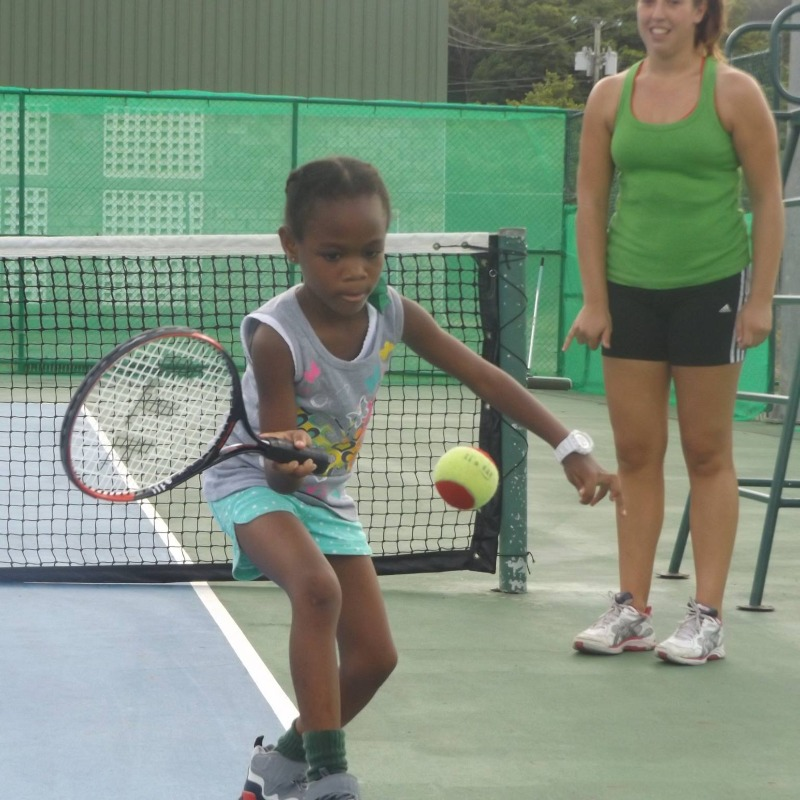 A tennis coach volunteering in St Lucia