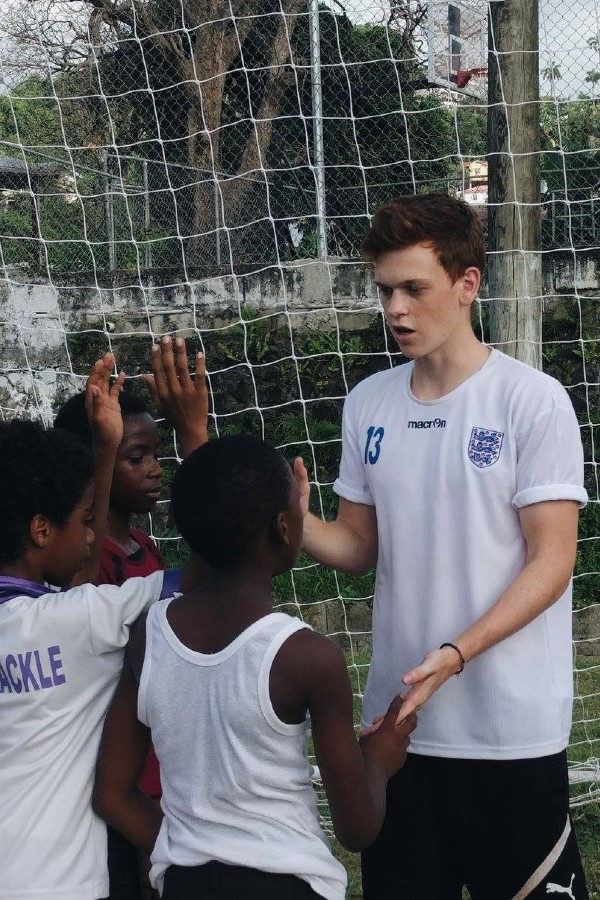 Gap year football coach working in St Lucia