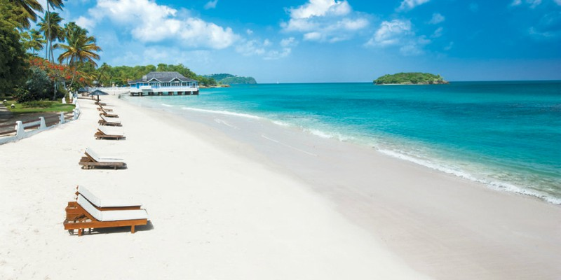Sandals Halcyon Beach St. lucia with Caribbean Warehouse