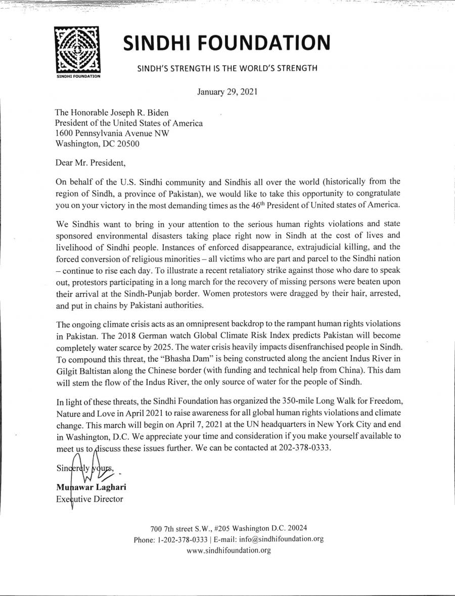 Sindhi Foundation sent a letter to President Joe Biden