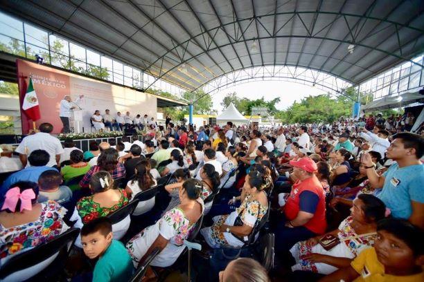 Tren Maya y liberación de Mario Villanueva temas de la gira presidencial en Felipe Carrillo Puerto